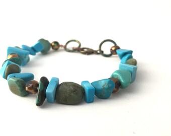 Boho Bracelet-Turquoise Bracelet-Boho Jewelry-Blue Bohemian Bracelet- Rustic Bracelet- Earthy Colors- Earthy By Design