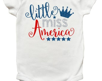 Little Miss America Shirt, 4th of July Shirt for Girls, Fourth of July Shirt