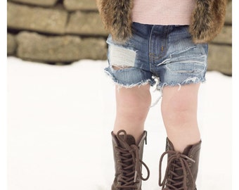 Lisa shorts - baby , toddler , kids - Girl's hand-distressed denim shorts (Sizes 6m-12y) girls jean shorts , ripped denim , childrens denim