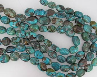 Natural turquoise pebble beads 16-18mm. Genuine gemstone beads. Full strand