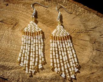 White-gold beaded long dangle earrings, seed bead fringe earrings, chandelier earrings, seed bead jewelry, gift for her