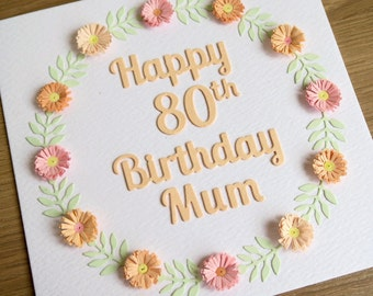 Quilled 80th birthday card, personalized with name, 21st, 30th, 40th, 50th, 60th, 70th, 90th, 100th