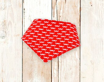 Mini Red Moustaches Bandana Bib ||| bibdana, baby shower gift, drool bib, dribble bib, drool bandana, special needs bib, bibdanna