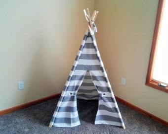 "Small Kids Teepee Gray and White Stripe Kids Tent 36"" shown available larger-  Gray Stripe play tent- play fort Small kids teepee"