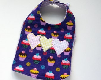Baby Bib - Purple Cupcakes with Heart Applique - Flannel and Chenille - Handmade