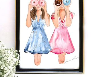 My Best Friend, Donut Print, Besties Illustration, Fashion Print, Gift For Friend, Gift for Her, Donuts Wall Art