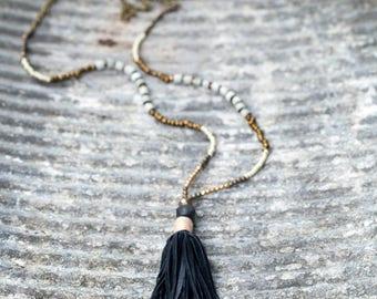seed bead necklace. Long beaded neckkace. Tassel necklace