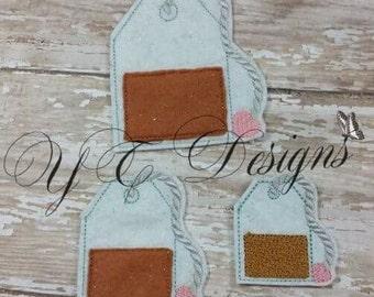 Tea Bag Feltie Tea Feltie Embroidery File