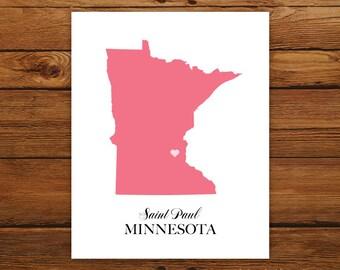 Minnesota State Love Map Silhouette 8x10 Print - Customized