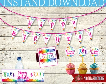 Trampoline Party Pack | PDF | INSTANT Download | Digital | Banner | Cupcake Topper | Bottle Label | Happy Birthday | Flags | Candy Wrappers