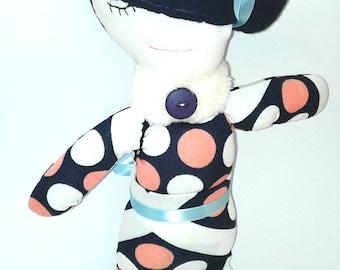 Handmade doll,Fabric doll, rag doll, cloth doll,  pink, white, navy blue, gift, girl, fashion doll, one of a kind, polka dots