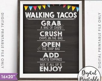 """Walking Tacos Sign, Taco Bar, Taco Sign Fiesta Cinco de Mayo Sweet Sixteen Birthday, 8x10/16x20"""" Chalkboard Style Printable Instant Download"""