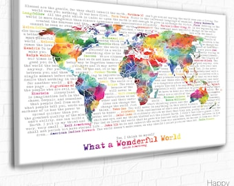 Colourful world map etsy world map with quote wonderful world word art inspirational quotes world map gumiabroncs Image collections