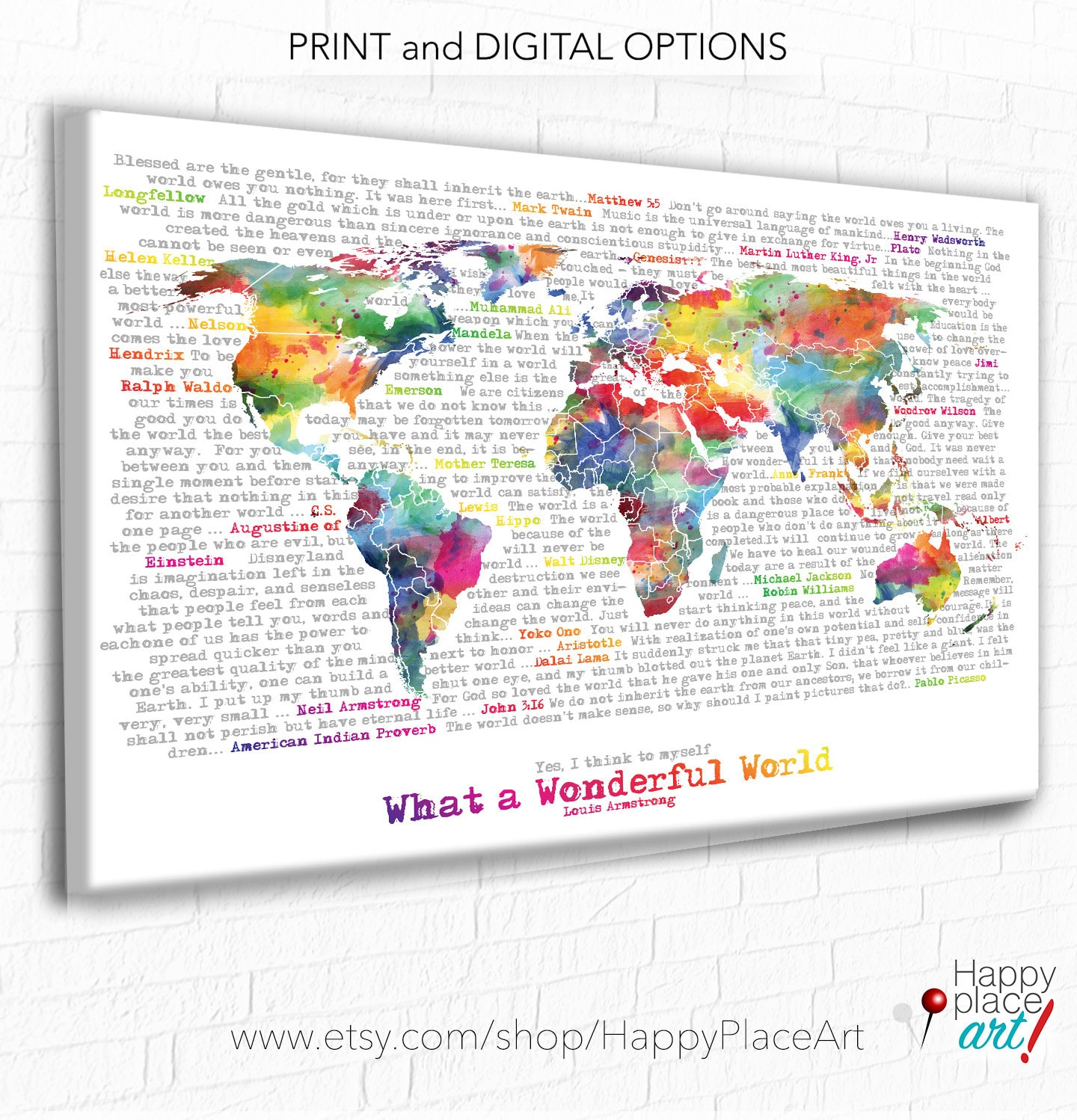 World map with quote wonderful world word art inspirational zoom gumiabroncs Images