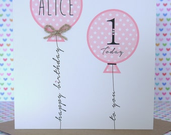 Beautiful Personalised Handmade Girl Birthday Card 1st,2nd,3rd,4th,5th,6th,7th,8th