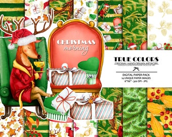 Deer Christmas Digital Paper Pack Christmas Presents Digital Paper Pack Christmas Holiday Digital Paper Presents Digital Paper Xmas Paper