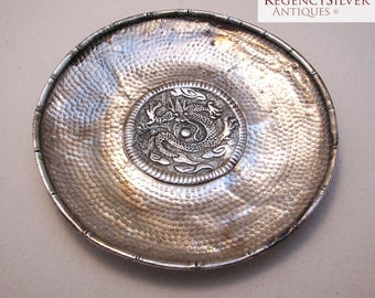 Rare Chinese Antique (c1910) Solid Silver Small Dish/Bowl/Coaster with Bamboo Dragon & Hammered Planished decorations. Early 20th-century