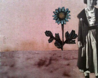 original collage art. one of a kind paper collage on artist panel.