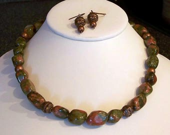 Green and Coral Unakite Nuggets and Copper Necklace and Earring Set by Carol Wilson of Je t'adorn