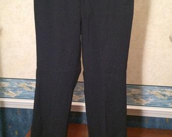 Pinstripe Disco Pants - 1970s - Mens - Medium - Navy, Red, Blue - Polyester - Medium Weight - Unique 34X31