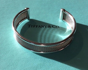 Rare Tiffany Sterling Silver Woven Mesh Cuff Bracelet 6.5 in Wrist
