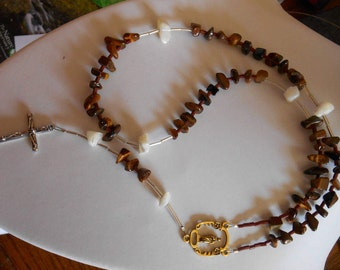 Rosary,tiger eye rosary,mother of pearl rosary,christen rosary,stone rosary
