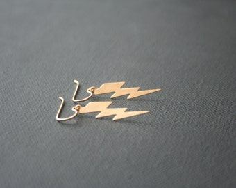 Gold earrings - lightning bolt - lightweight earrings - 14k gold filled - french wire or leverback