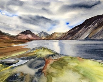 Lake District, Wast Water, landscape painting, landscape watercolor, Lake mountain painting, lake painting, English countryside, Scafell