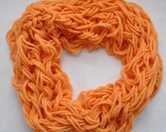Orange Infinity scarf  handmade.
