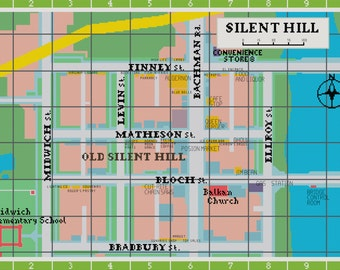 Map of Old Silent Hill Cross Stitch Pattern