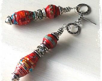 Hippie Earrings with Rhinestones Red Paper Earrings, Colorful Boho Beaded Earrings for Women Bohemian Jewelry, Red Gypsy Earrings Tribal