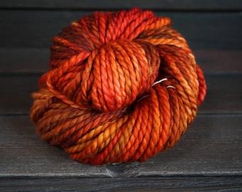Hand Dyed Yarn, Superwash, Merino, Nylon, Orange, Brown, Indie Dyer, Bulky, Knit, Crochet, Weave, Fiber Art, Hat
