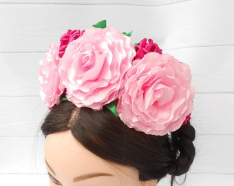 Fiesta party Bachelorette headpiece Mexican flower crown Pink Frida Kahlo headband Dia de los muertos costume Day of the dead floral crown