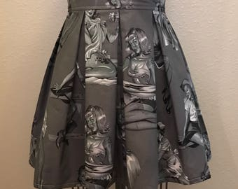 Grey Pinup Zombies Printed Adult High Waisted Skater Skirts