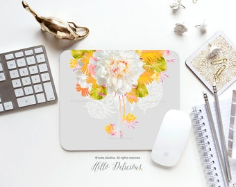 Summer Floral Mousepad Floral Mouse Pad Peony Mousepad Pink Roses Mousepad Office Mousemat Rectangular Mousepad Round 03.