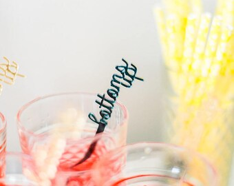 Bottoms Up,Champagne,Swizzle Sticks,Cocktail Party,Perfect Weddings,Drink Stirrer,Stir Sticks,Wedding,Bridal Shower,Party,Bachelorette,6 Pk