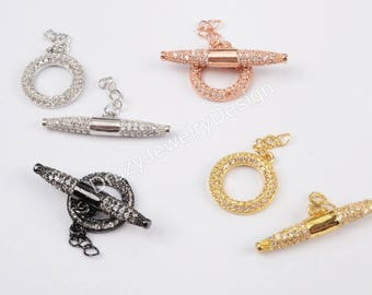 CZ OT Clasp,Micro Pave OT Clasp,Toggle Clasp,Jewelry Findings,Bracelet Clasp,Gold/Silver/Rose Gold/Black Gun Metal,Wholesale Findings,WX619