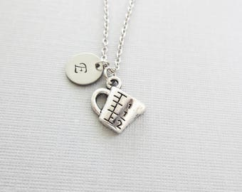 Measuring Cup Necklace, Baking, Baker, Cook, Chef, Culinary, Mothers Day, Silver Jewelry, Personalized Monogram, Hand Stamped Letter Initial