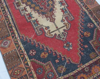 "6'11""x3'7"" Deep Red with Blue and Deep Orange Vintage Turkish Rug"