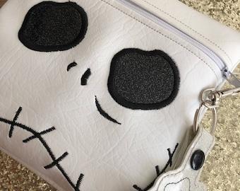 Jack Skellington zipper bag, jack skellington inspired purse, jack planner clip, nightmare before christmas inspired bag, nbc purse