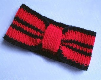 Ear Warmer Headband Cheerleader Sports College Red and Black Atlanta Louisville Hand Knit Ready to Ship