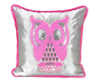 Pink Owl Pillow Cover Sequin Applique Owl Throw Cushion Cover Designer Pillow Cover Silver Pillowcase Fur Piping Pillow Case Girls Bedding
