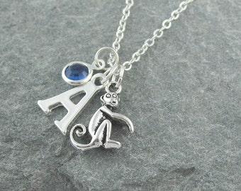 Monkey necklace, silver chain, personalized jewelry, swarovski birthstone, initial necklace, for her, birthstone necklace, monkey pendant
