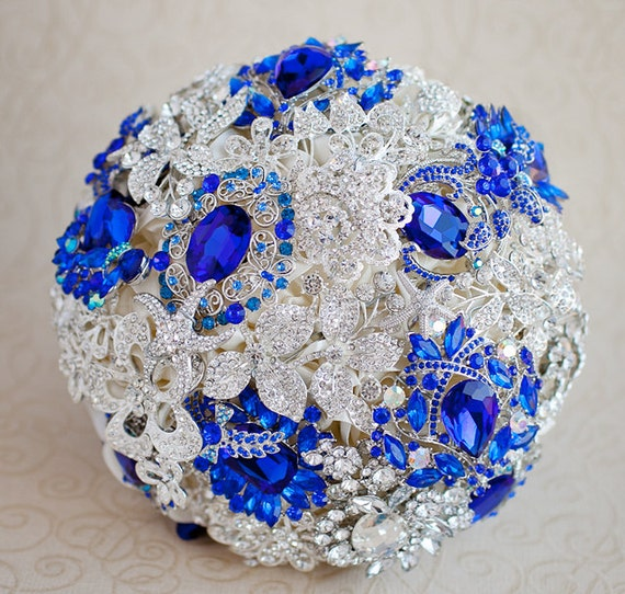 Royal Blue And Silver Wedding Flowers: Brooch Bouquet. Ivory Royal Blue And Silver Wedding Brooch
