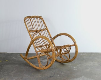 Mid Century Franco Albini Style Rattan Rocking Chair