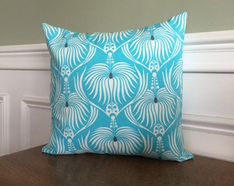 Modern Throw Pillow Cover - Pillow Sham - Decorative Pillow - Designer Cotton Fabric - Teal Blue White Gray - 14 inch - Sofa Pillow