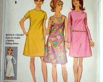 Vintage 1967 Simplicity 7507 Junior Bonus Basic Sewing Pattern size 11 bust 33 1/2