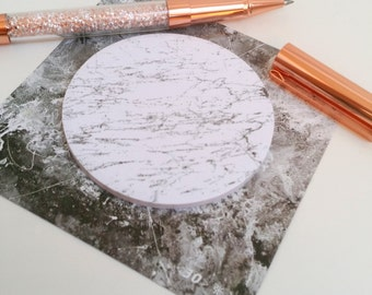White Circle Marble Sticky Notes