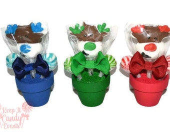 Reindeer Mini Lollipop Arrangements,  Christmas Gift, Stocking Stuffers, Holiday Party Favors, Reindeer Candy Favors, Christmas