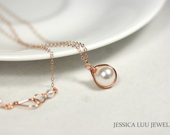 Rose Gold White Pearl Necklace Rose Gold Pearl Solitaire Necklace Bridal Pearl Necklace Bridesmaids Gifts White Swarovski Pearl Jewelry